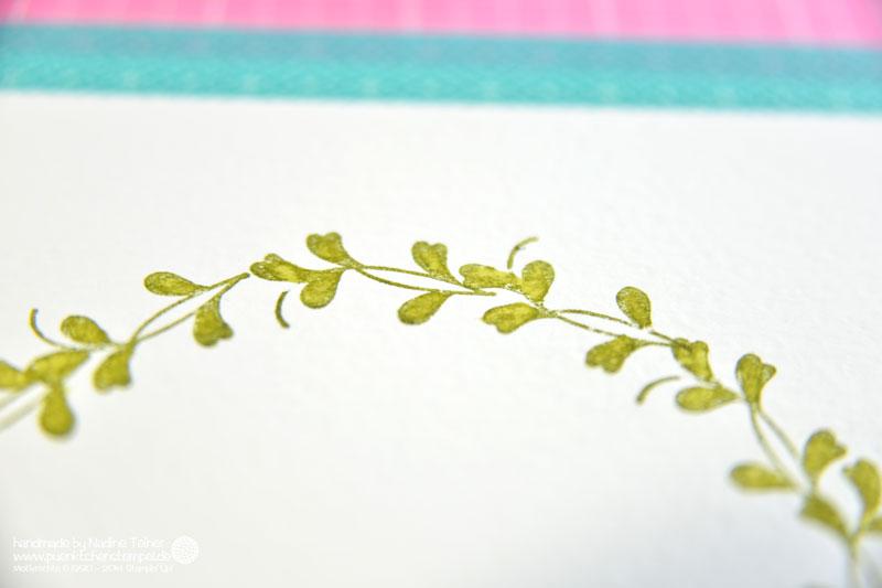 Stempeln im Kreis, Kranz stempeln Stampin' Up! puenktchenstempel.de Hochzeitskarte colorieren
