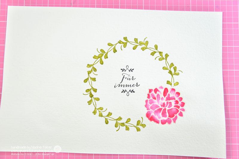 Eine Hochzeitskarte aus Stampin' Up! Material, bunt coloriert. Puenktchenstempel.de