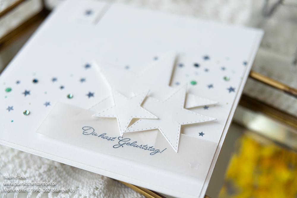 Nahansicht einer clean and simple Geburtstagskarte in weiß und marineblau, selbstgemacht mit ausgestanzten weißen Sternen und marineblauen gestempelten kleinen Sternen im Hintergrund.