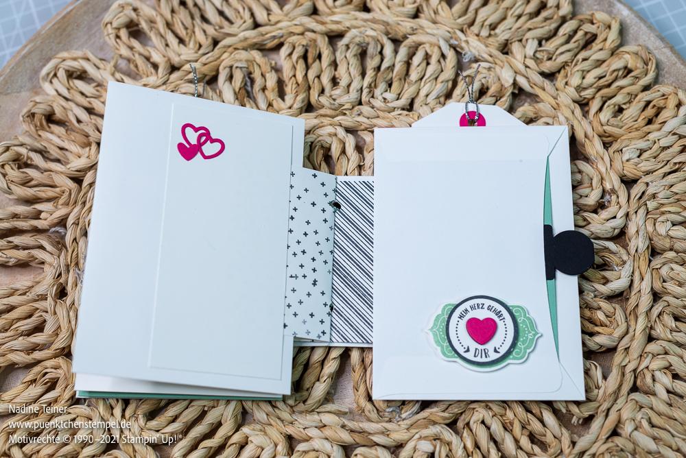 DIY Minialbum Stampinup grundweiß, schwarz, minzmakrone und wassermelone